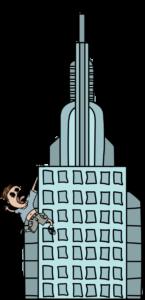 Bonhomme accroché à un building