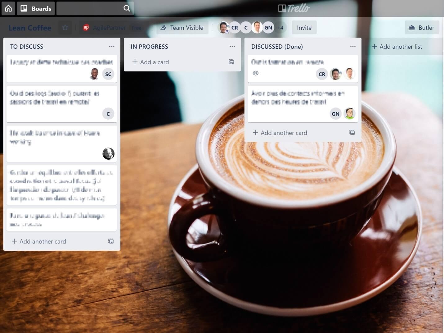 e-Lean coffee Trello board
